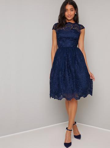 Chi Chi April Lace Bridesmaid Short Dress, Navy Blue