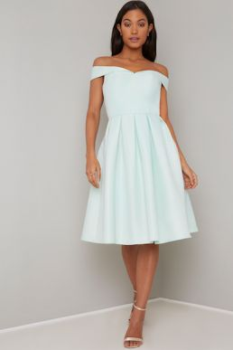 Chi Chi Erynn Bardot Dress Mint Green