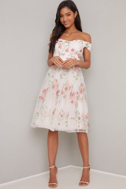 Chi Chi Lillia Bardot Floral Dress White Multi