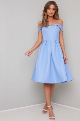 Chi Chi Marlie Bardot Dress Blue
