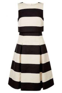 Coast Emma Stripe A-line Dress White Black