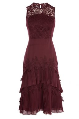 Coast Ros Tiered Lace Dress Merlot Mulberry Red