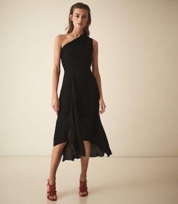 Reiss Adelia Asymmetric Midi Dress Black