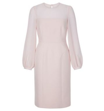 Hobbs Mila Sheer Sleeve Shift Dress Pale Pink Blush