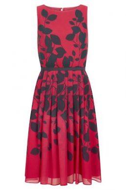 Hobbs Sienna Leaf Print Dress Bright Pink Black