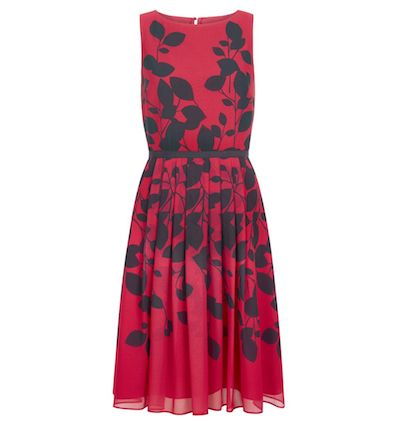 Hobbs Sienna Leaf Print Dress Bright Pink Black