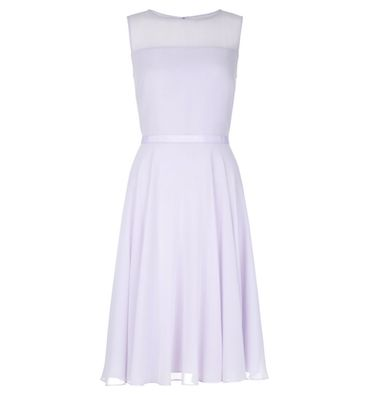 Hobbs Abigale Sheer Short Dress Lilac Light Purple