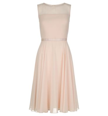 Hobbs Abigale Sheer Short Dress Pale Pink Blush