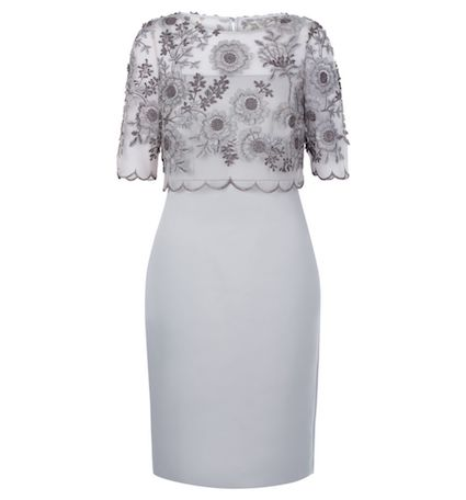Hobbs Anna Floral Lace Shift Dress Silver