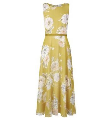 Hobbs Carly Floral Print Midi Dress Yellow Ivory