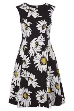 Hobbs Rhona Daisy Print Dress White Black