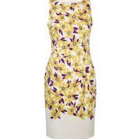 Hobbs Fiona Print Shift Dress Yellow Purple Multi