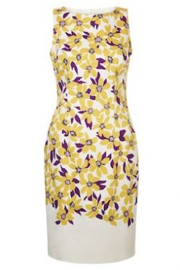 Hobbs Fiona Print Shift Dress Yellow Purple Multi