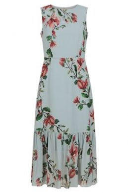 Hobbs Hallie Floral Print Midi Dress Blue Multi
