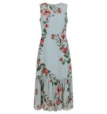 Hobbs Hallie Floral Print Midi Dress Blue Multi