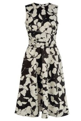 Hobbs Twitchill Linen Floral Print Dress Black White