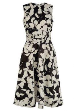 Hobbs Twitchill Linen Floral Print Dress Black White