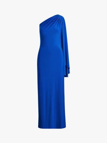 Lauren Ralph Lauren Dellah One Shoulder Evening Dress Portuguese Blue
