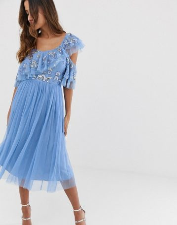 Maya cami strap sequin top tulle detail midi dress with ruffle skirt bluebell