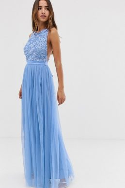 26f54357 Maya delicate sequin bodice maxi dress with cross back bow, powder blue