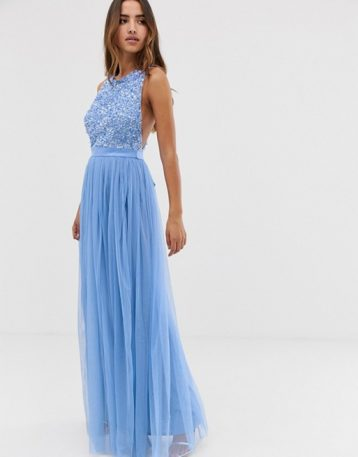 Maya delicate sequin bodice maxi dress with cross back bow, powder blue