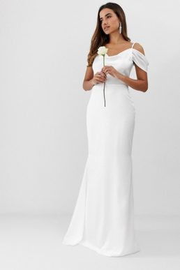 Missguided off the shoulder fishtail maxi wedding dress white