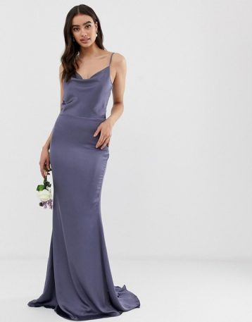 Missguided satin cowl neck maxi bridesmaid dress blue purple