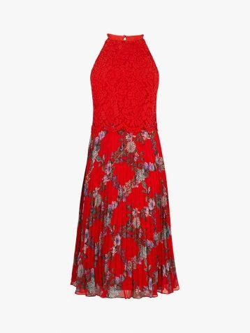 Oasis Bloom Floral Pleated Midi Dress Red Multi