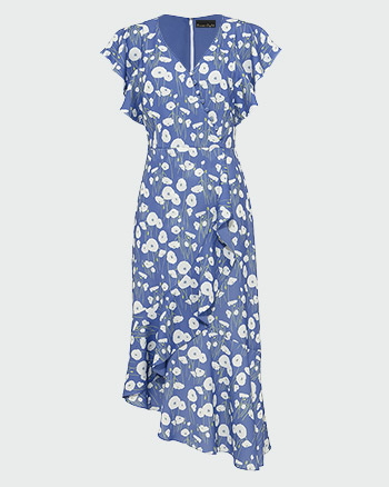Phase Eight Veronica Ditsy Flower Print Dress Blue White