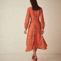 Reiss Bay Floral Midi Sleeve Dress Coral Orange