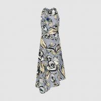 Reiss Rose Floral Printed Midi Dress Blue Grey