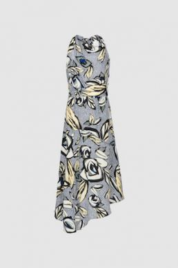 Reiss Rose Floral Printed Midi Dress Blue Grey