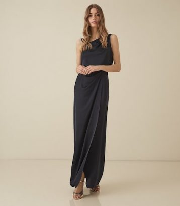 Reiss Ostia One Shoulder Satin Maxi Dress Navy Blue