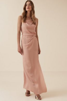 Reiss Ostia One Shoulder Maxi Dress Pink
