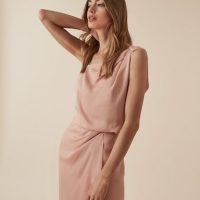Reiss Ostia One Shoulder Maxi Dress Pink
