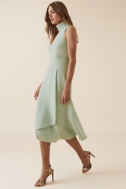 Reiss Doriana Open Back Fit And Flare Dress Mint Green