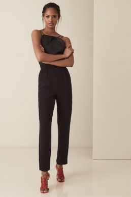Reiss Rosalie Strappy Cross Back Jumpsuit Black