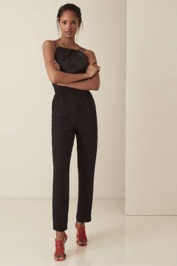 Reiss Rosalie Strappy Cross Back Jumpsuit Black