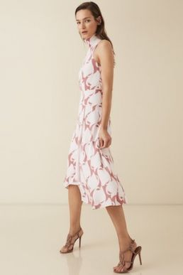 Reiss Doriana swirl printed high neck midi dress print pink white