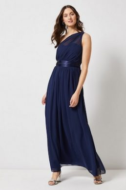 Showcase Navy 'Sadie' One Shoulder Maxi Bridesmaid Dress