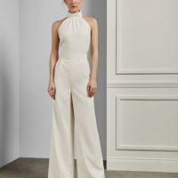 Ted Baker OLIVVYA Halter neck wide leg bridal jumpsuit White