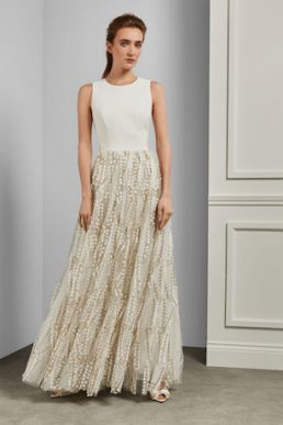 SILVYA Floral embroidered maxi dress with train