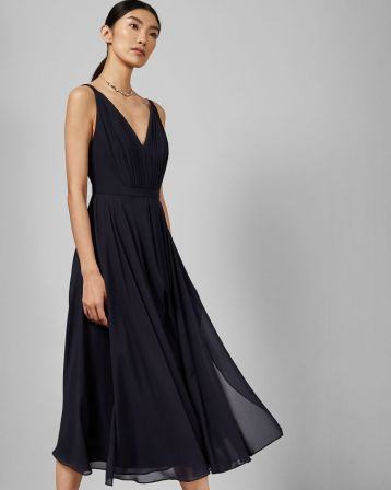Ted Baker CELEYST V neck georgette midi dress Navy Blue