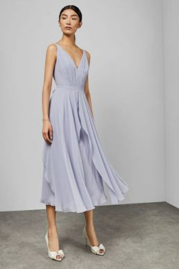 Ted Baker CELEYST V neck georgette midi dress Pale Blue