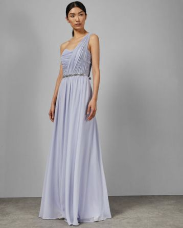 Ted Baker FINELLA One shoulder maxi bridesmaid dress Pale Blue Lilac