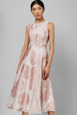 Ted Baker WYLIEH Sleeveless floral midi dress Pink Blush