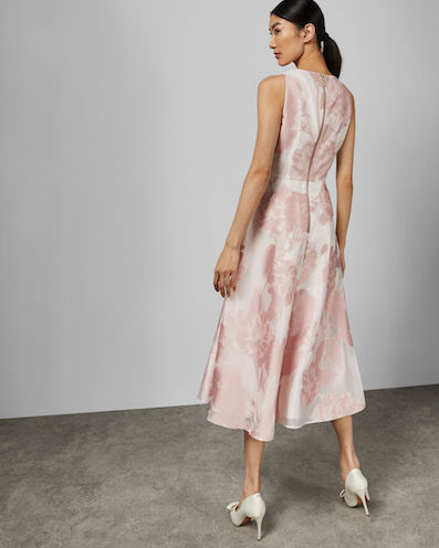 16616d8f4396 Ted Baker WYLIEH Sleeveless floral midi dress, Pink/Blush ...