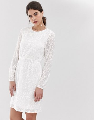 Y.A.S beaded open back mini dress white