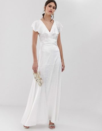 Y.A.S ruffle sleeve jacquard maxi bridal dress white