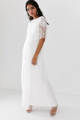Amelia Rose embellished maxi dress with sheer sleeve in off white